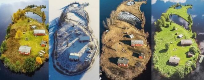 Фотограф снял крошечный остров Котисаари в разные времена года. Весь его инстаграм — магическая сказка