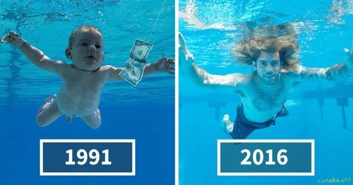 В честь юбилея альбома Спенсер Элден решил воссоздать снимок, так прославивший его еще в младенчестве.
